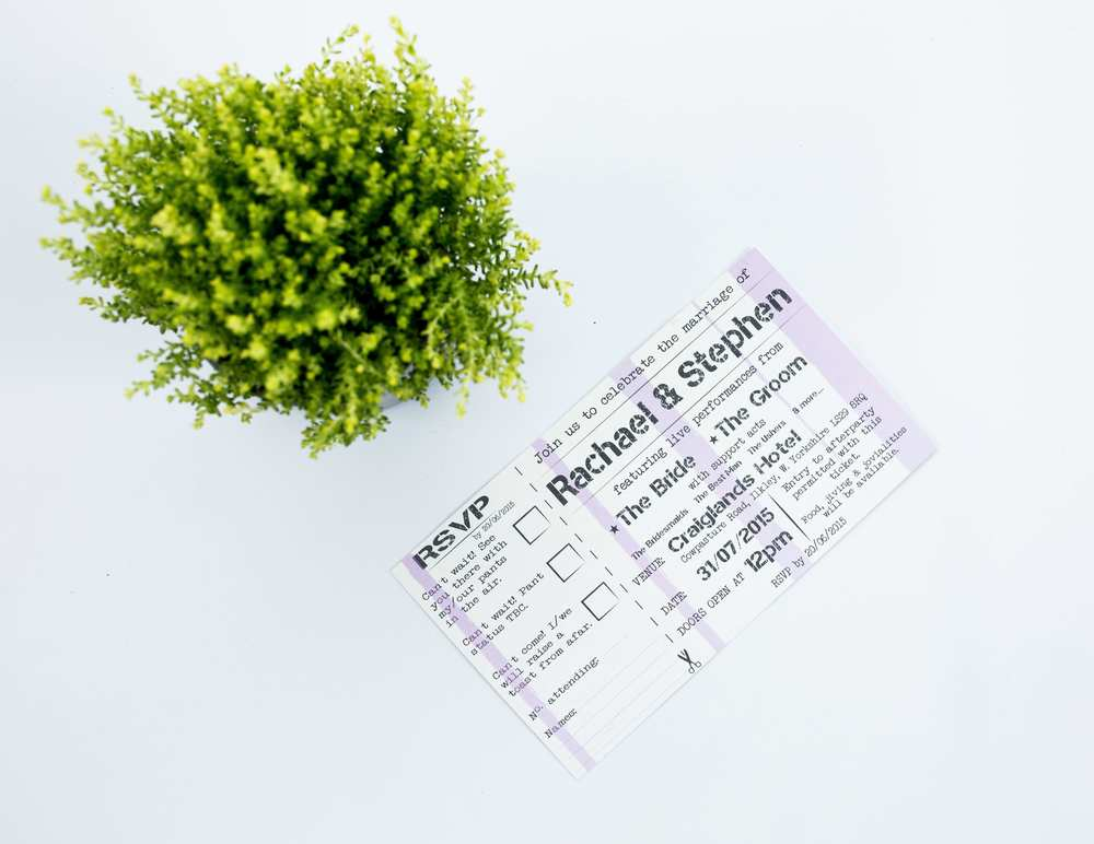 Bespoke Gig Ticket Invitation Flat RSVP Card Front.jpg