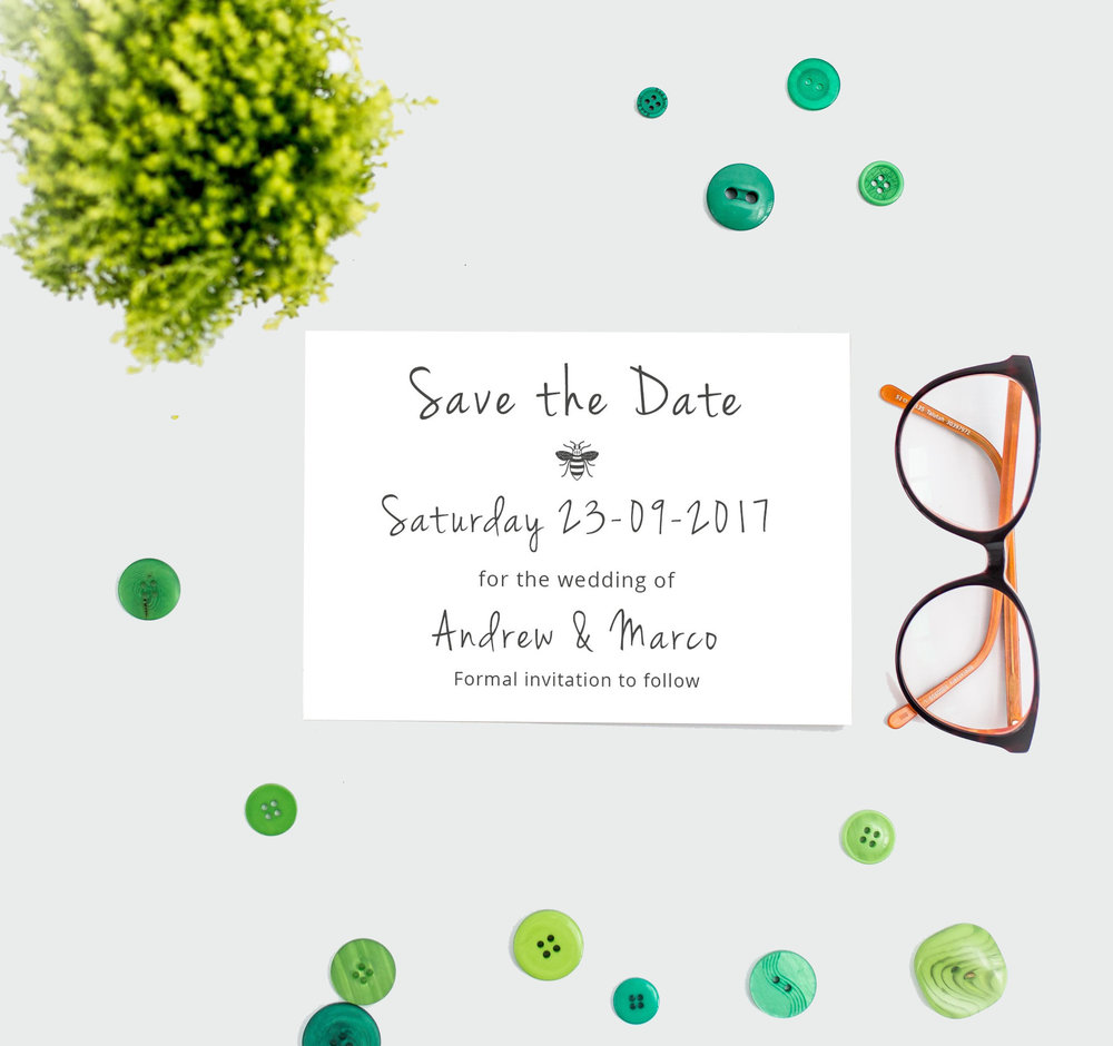 Manchester Bee Wedding Save the Date Card (Front)