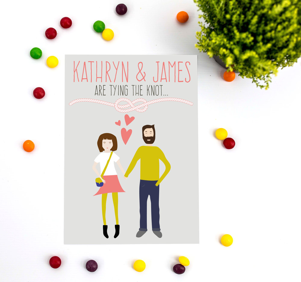 Hipster Couple Wedding Invitation