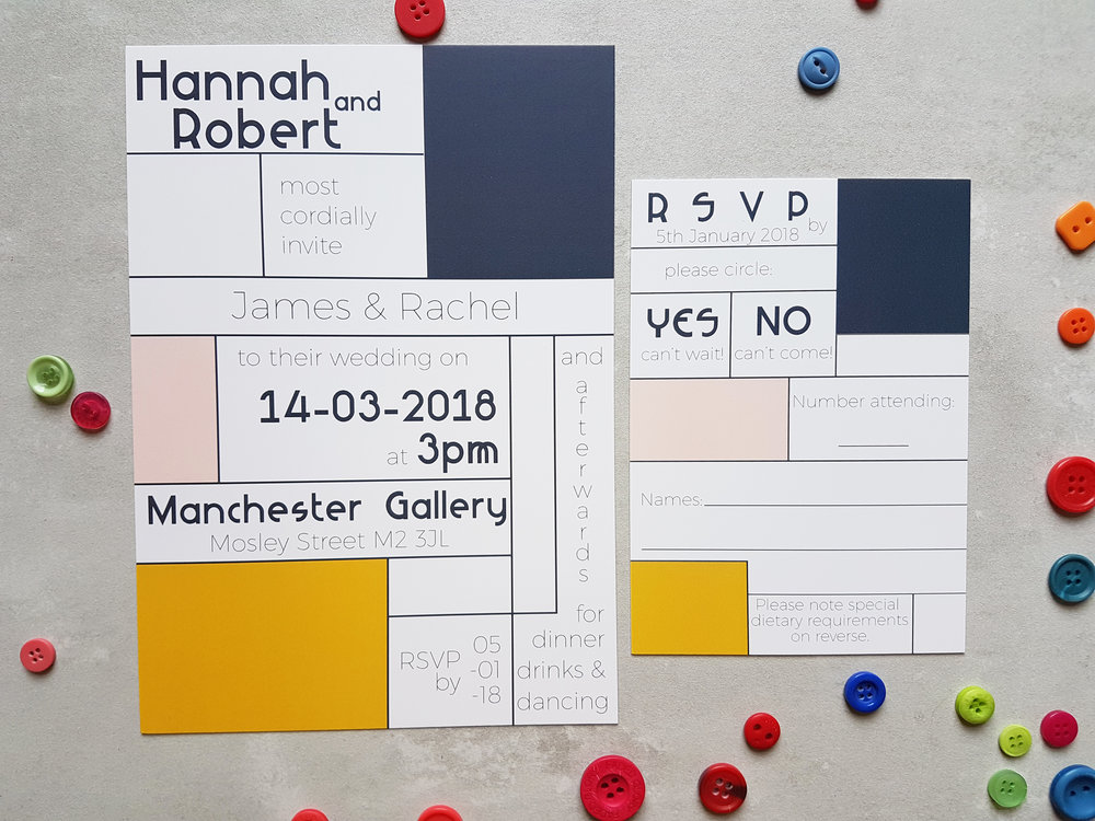 Retro Mondrian Invitation | RSVP