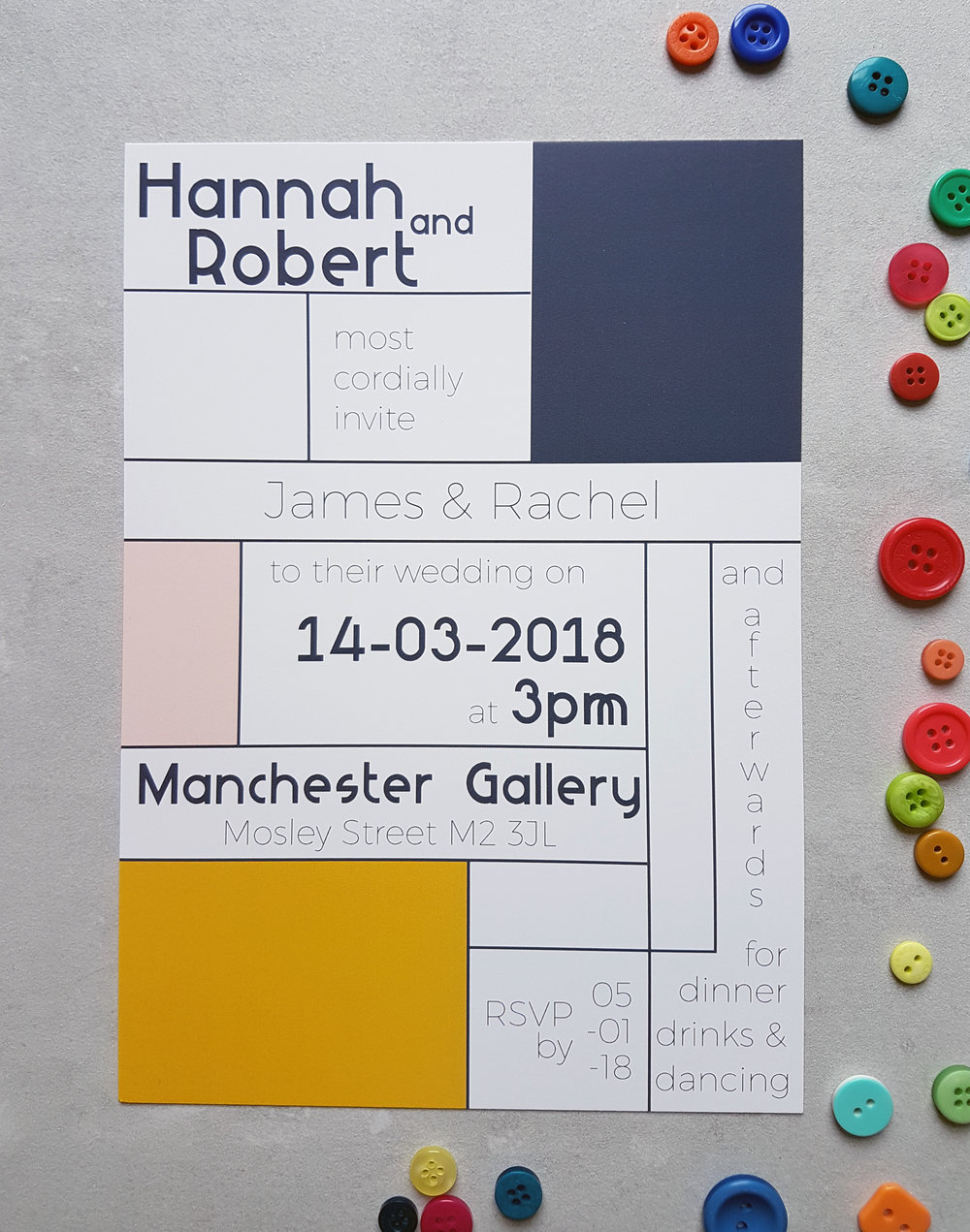 Retro Mondrian Invitation