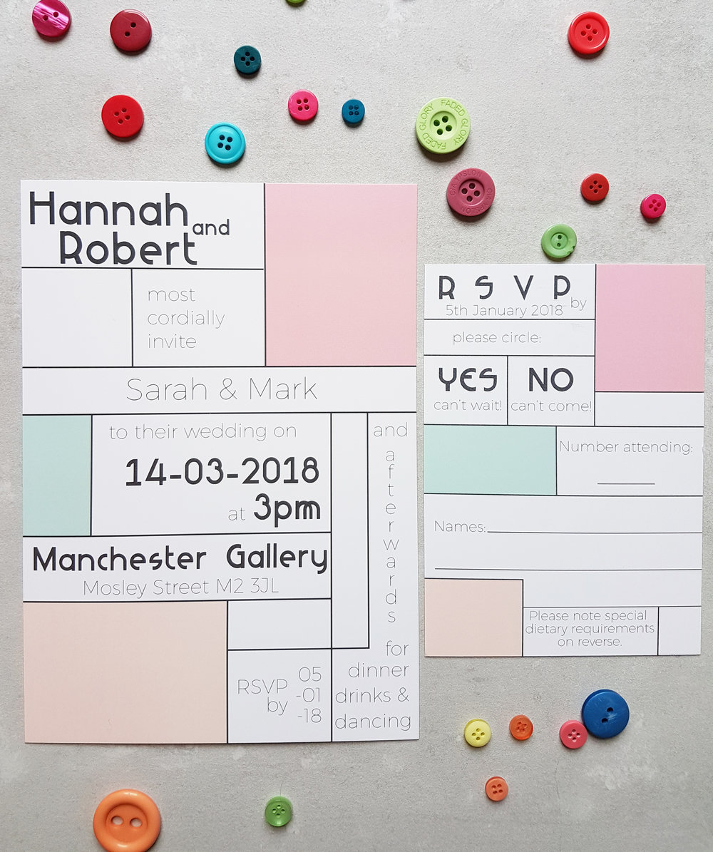 Candy Mondrian Invitation | RSVP