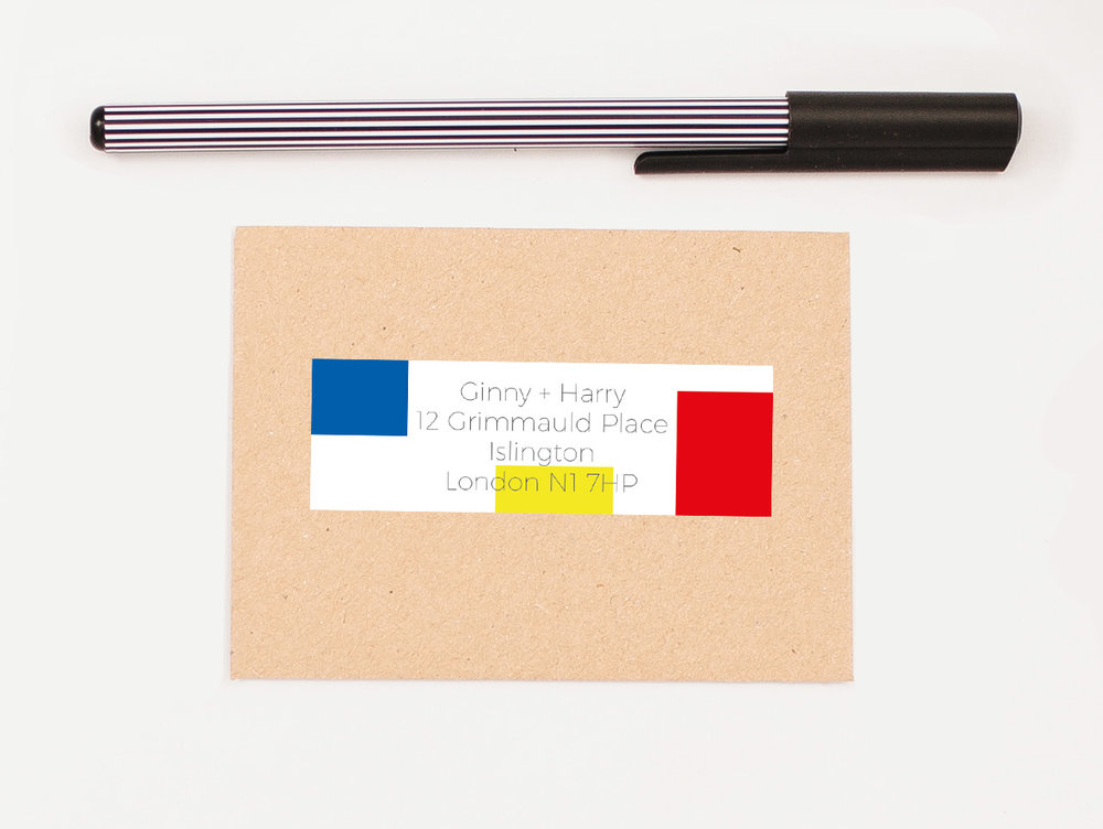 Classic Mondrian Self Adhesive RSVP Return Address Label