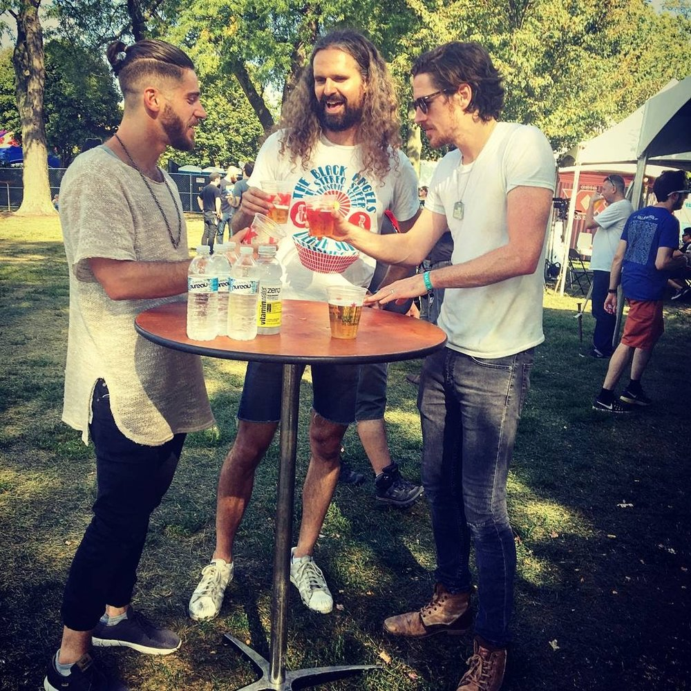 jared (left) hanging with eric (center) and kevin (right) during the black pistol fire interview | riot fest, 2017 | chicago |@thefaakehipster