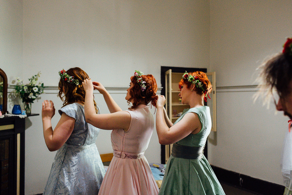 Vintage bridesmaids at Woodhouse