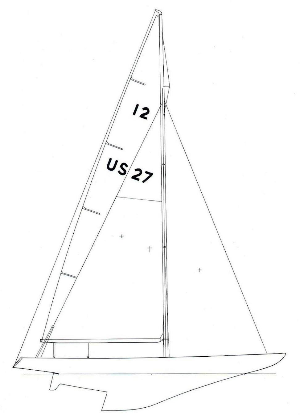 ....Sail Plan of a Sparkman & Stephens designed 12 metre yacht..Sparkman & Stephensin piirtämän 12mR -veneen purjepiirros....