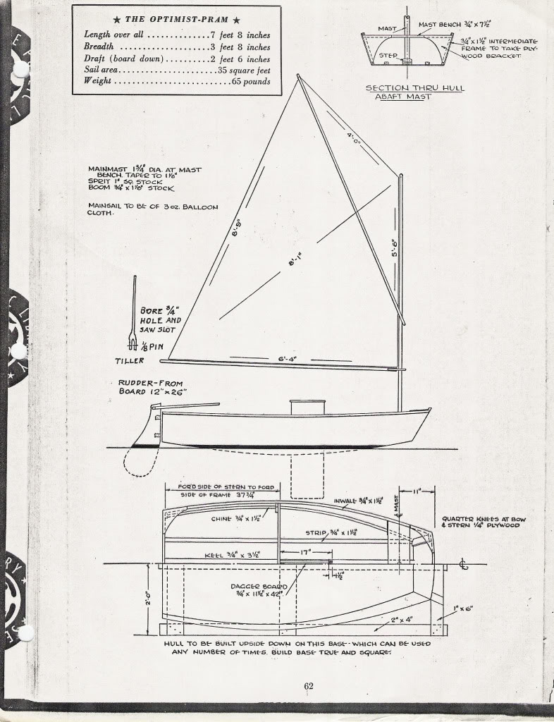 ....Optimist plans from the Rudder magazine 1954..Optimistin piirustukset Rudder magazine -lehdessä vuonna 1954....
