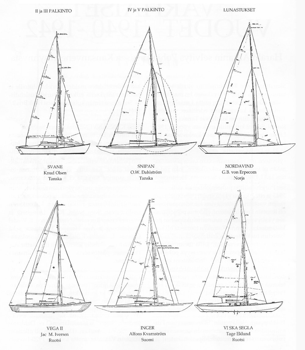 ....Some of the participants for the design competition for a new affordable cruising boat..Pohjoismaisen purjehtijaliiton suunnittelukilpailun satoa 1940-luvulta....