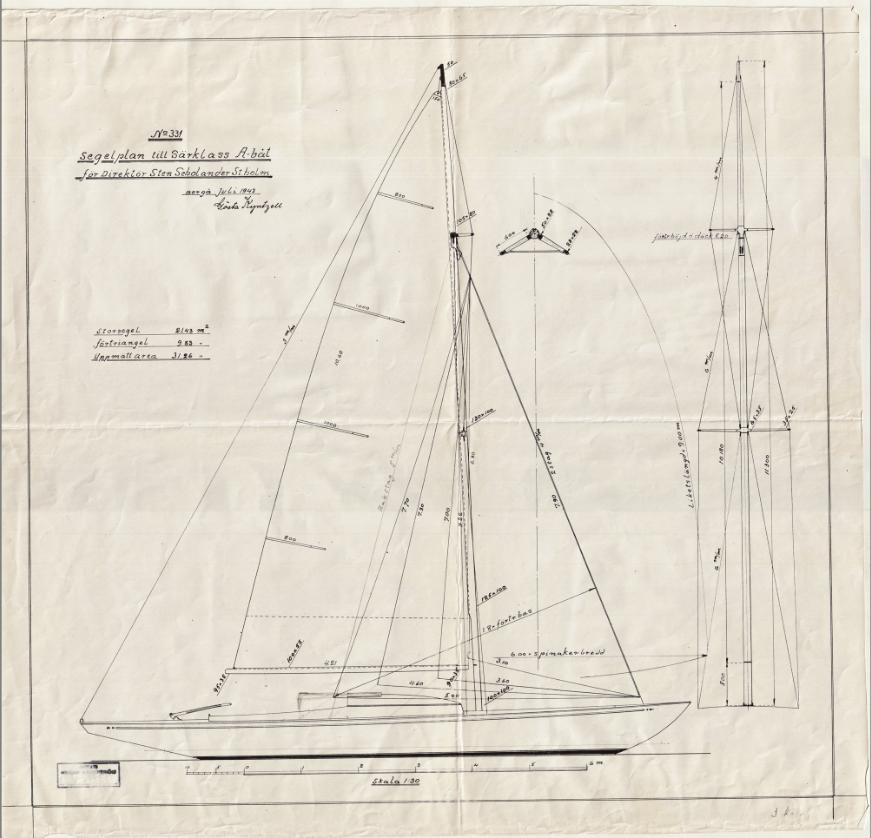 ....Finnish A-class sailboat by Kyntzell. Photos: Sjöhistoriska museet. ..Kyntzellin suunnittelema A-vene. Kuvat: Sjöhistoriska museet. ....