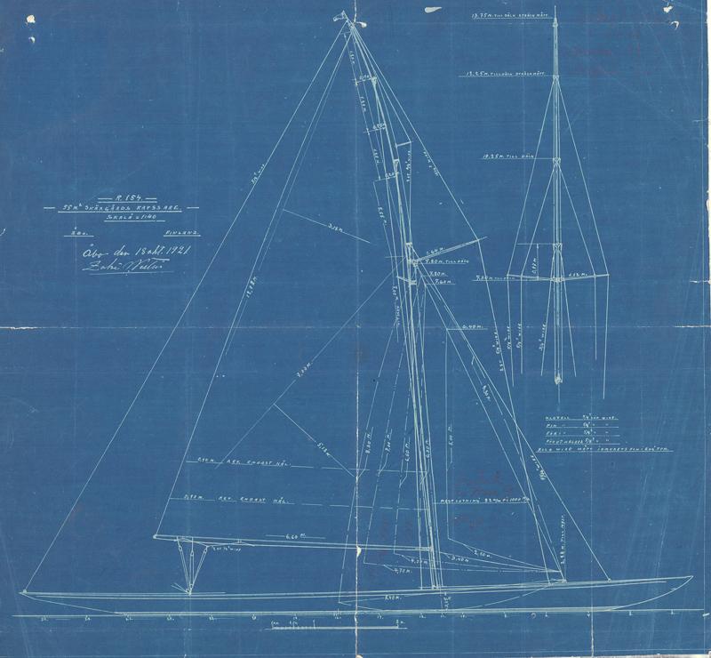 ....A 55m2 skerrycuiser designed by Zaké Westin in 1921. Plans: Sjöhistoriska Museet..Zaké Westinin vuonna 1921 suunnittelema 55m2-luokan saaristoristeilijä. Piirustukset: Sjöhistoriska Museet....