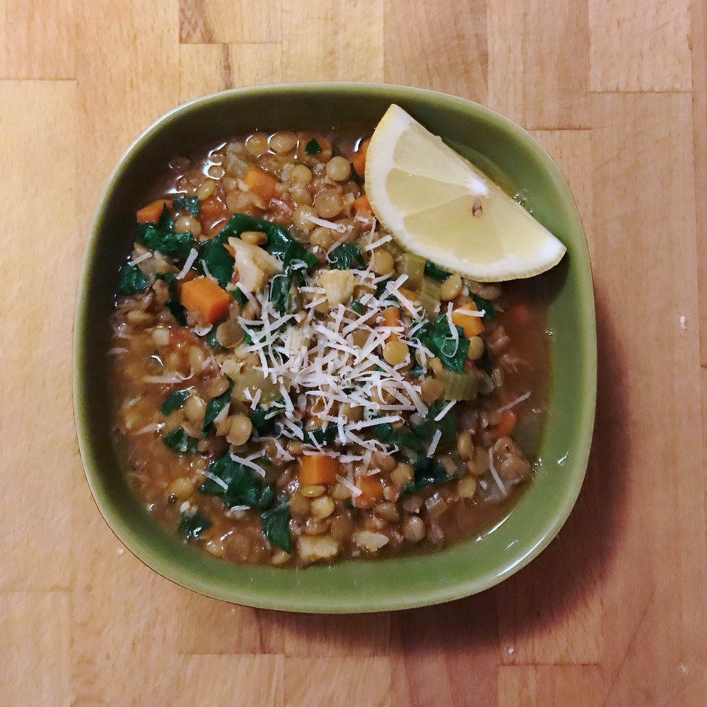 Carrot lentil spinach stew