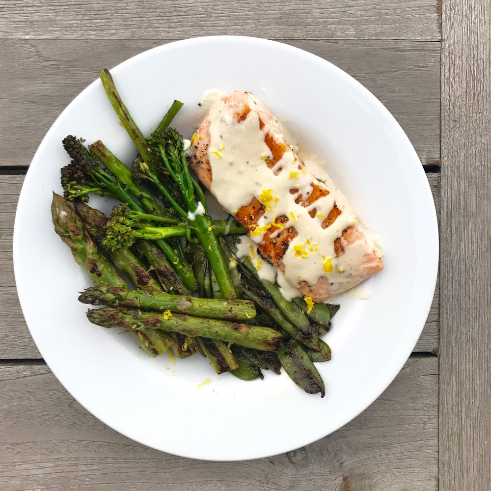 Grilled Salmon with Tahini Dressing