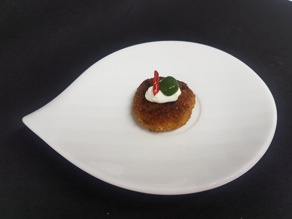 SPICY LAMB & POTATO CAKE WITH YOGHURT & MINT CHUTNEY
