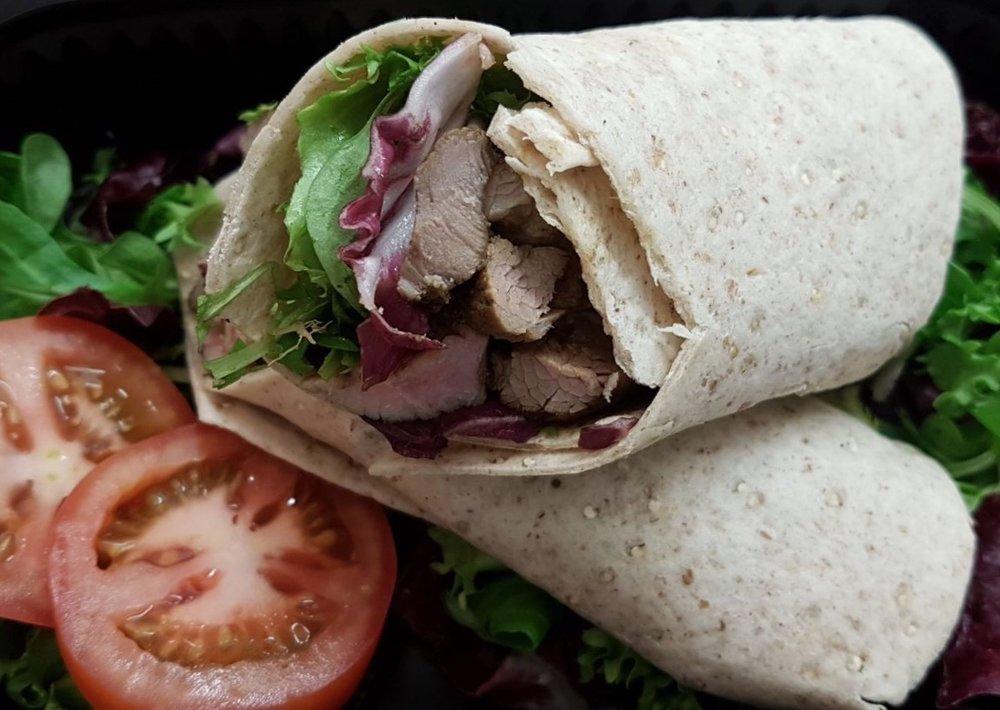Lamb Souvlaki Wraps with Salad