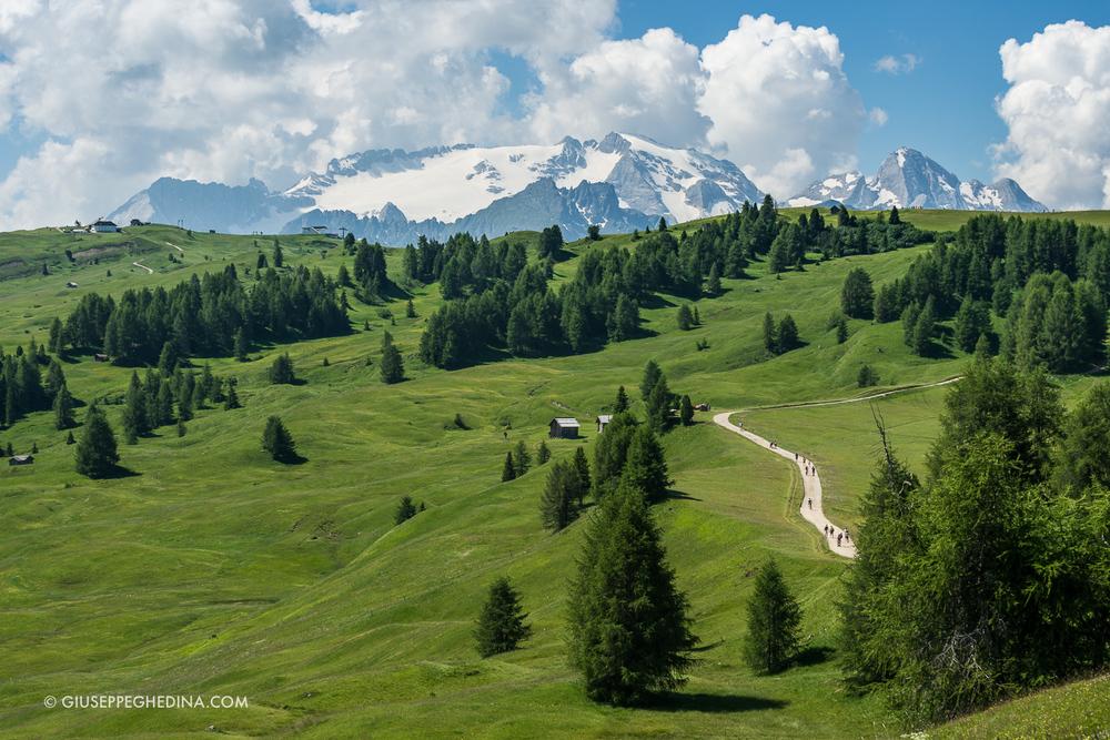 Il vasto altopiano di Pralongià_sullo sfondo il ghiacciaio della Marmolada _ foto @giuseppeghedina.com