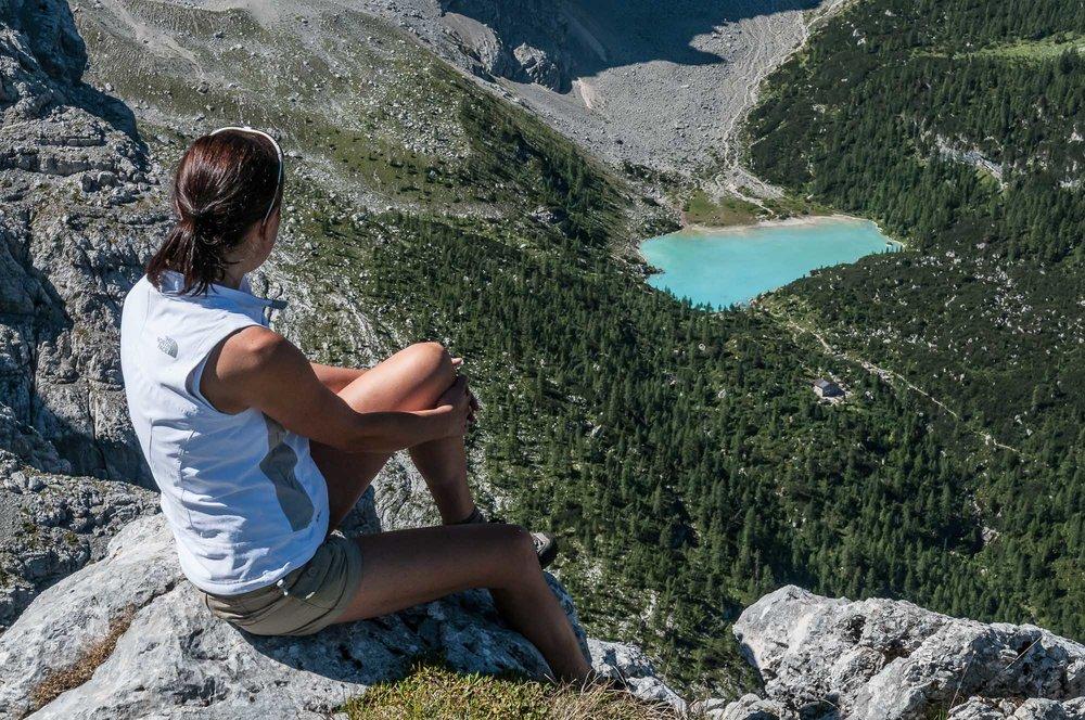 All'uscita della ferrata Vandelli _ In basso il Lago del Sorapis e il Rifugio Vandelli _ Photo  ©GIUSEPPEGHEDINA
