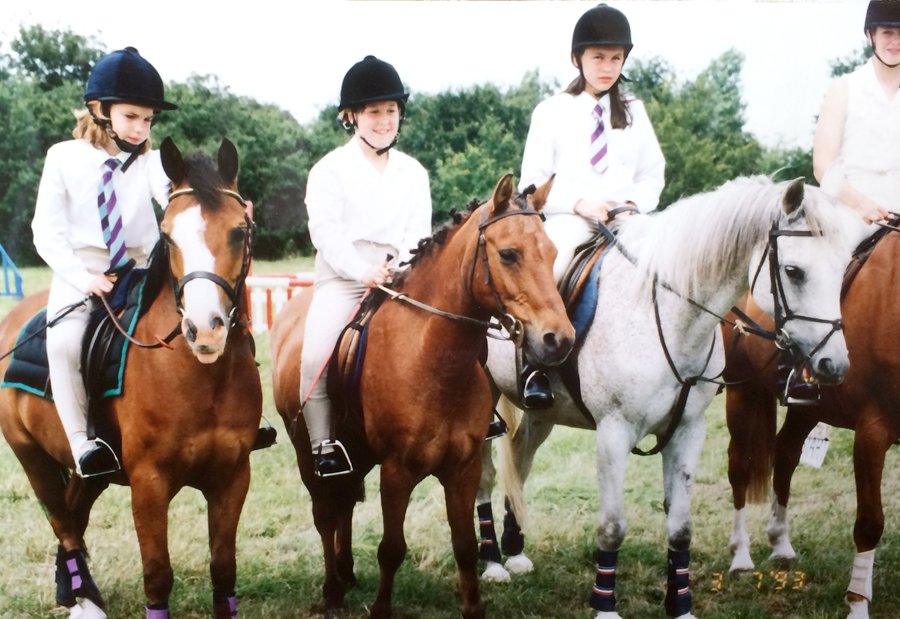 "AT A PONY CLUB MEETING (I'M SECOND FROM THE LEFT ON MY NEW FOREST PONY ""PETER RABBIT""."