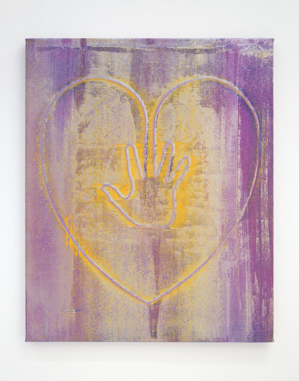 Hand on Heart (Silver Pink) , 2017   acrylic on canvas  77 x 66 cm.  £1,200  [Ref. JK2]