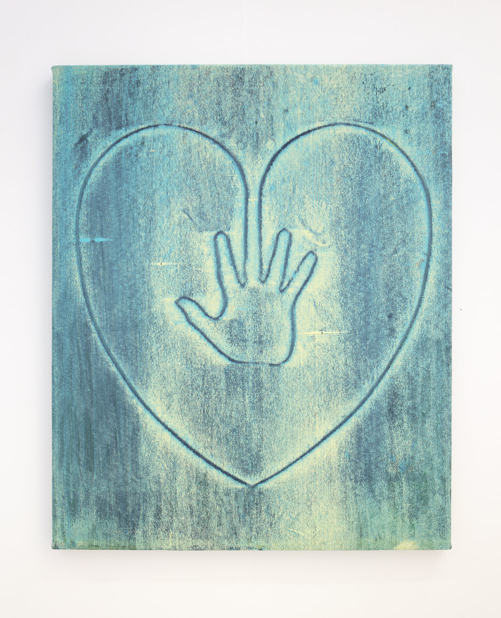 Hand on Heart (Turquoise) , 2017    acrylic on canvas  77 x 66 cm.  £1,200  [Ref. JK1]