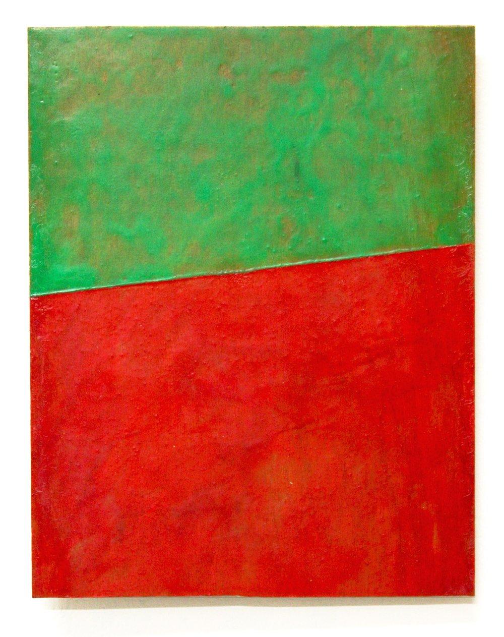Untitled (Blinky Palermo series) , 2014   encaustic on plywood  27 x 21 cm  £800  [Ref. GK2]