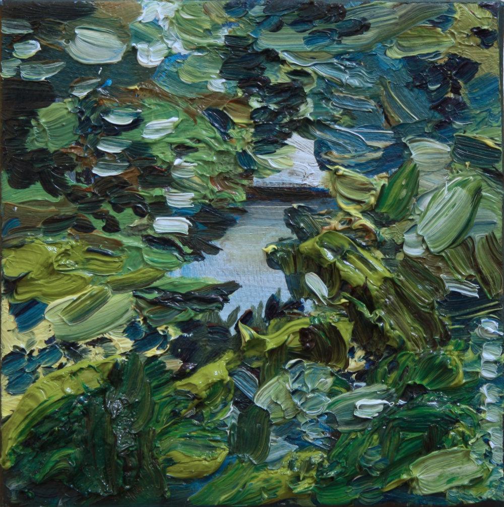 Landscape Collaboration with my Mum, Miranda Mayne , 2016    oil on canvas  10 x 10 cm.  £400  [Ref. AK3]