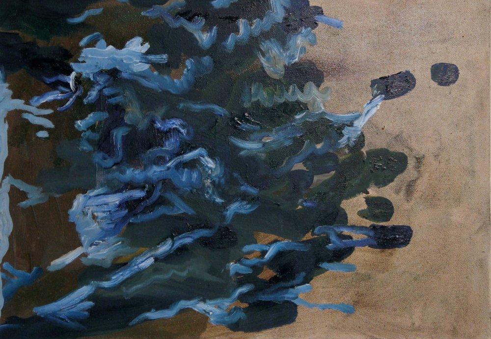 Blue Blobs , 2017   oil on canvas  42 x 29.5 cm.  £800  [Ref. AK1]