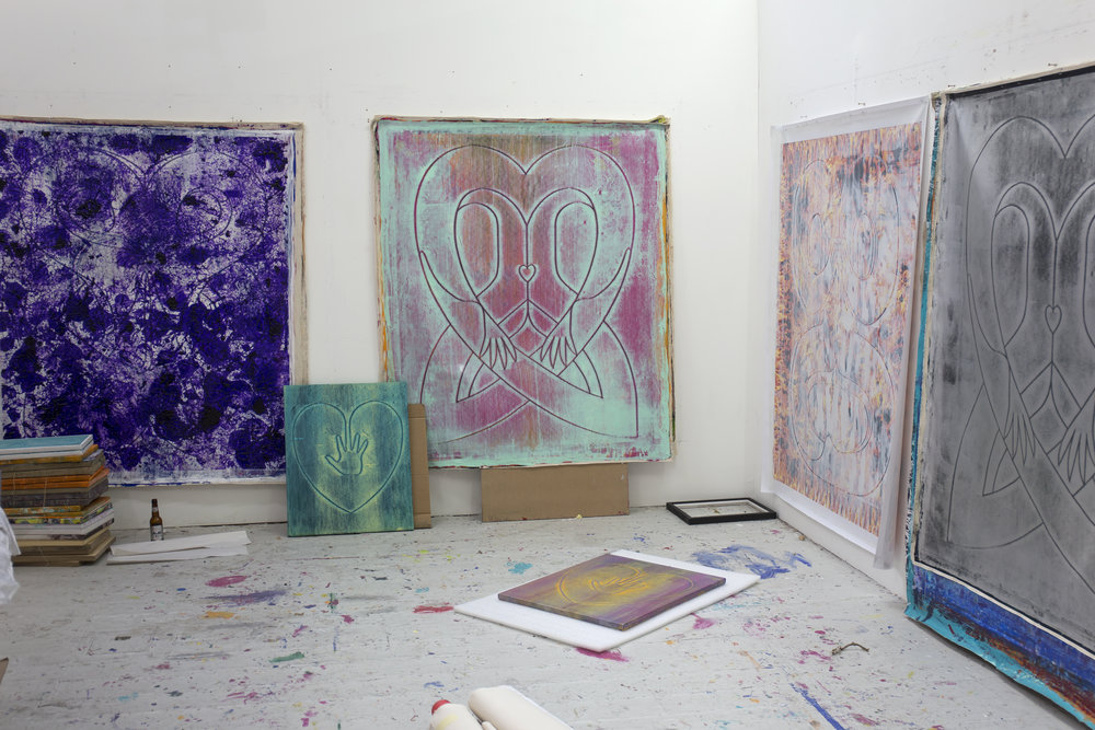 View of the studio with  Hand on Heart (Turquoise)  and  (Silver Pink)  in the foreground