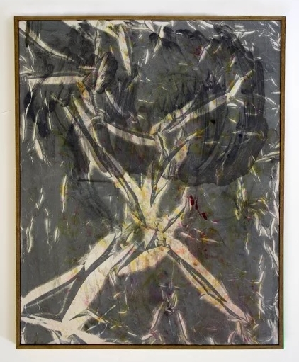 Failed Veil , 2015   monotype, fabric dye, on calico with hardwood  52 x 42 cm.  £2,200  [Ref. AP2]