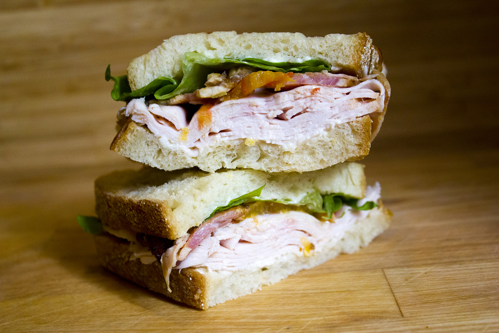 Turkey Club  Smoked turkey breast, bacon, lettuce, tomato & mayo