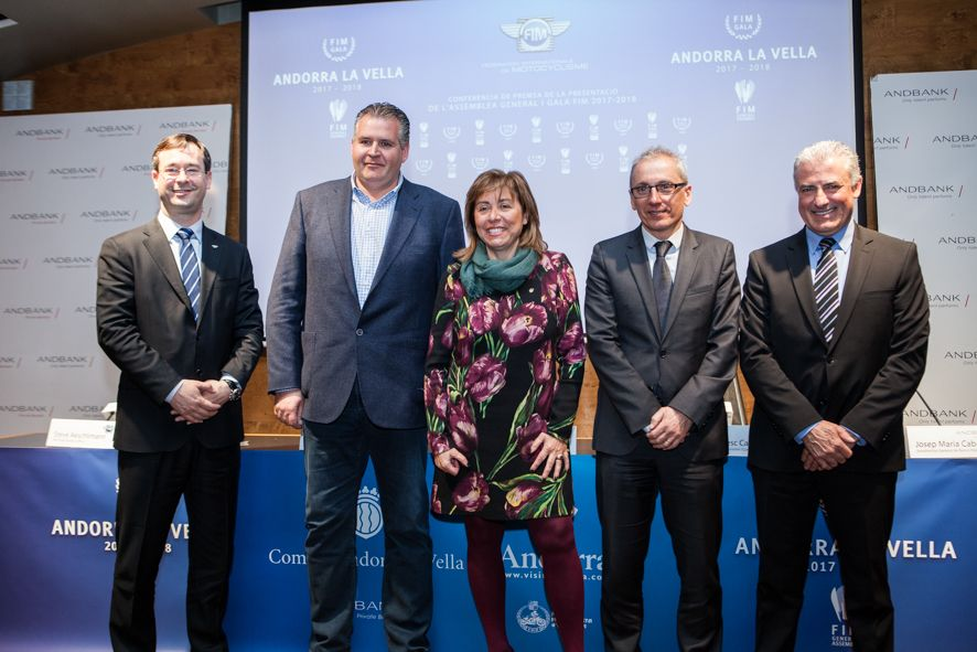 ©  Tony Lara | From left to right: Mr Steve Aeschlimman - FIM CEO, Mr Josep Punti - President of the FMA, Mrs Conxita Marsol - Mayor of Anodrra la Vella, Mr Francesc Camp - Minister of Tourism and Commerce of Andorra and Mr Josep Maria Cabanes - Andbank Representative.