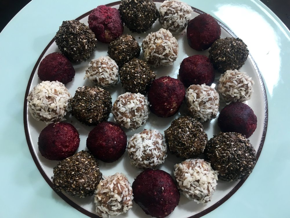 Get creative - these are coated with raspberry superfood powder, coconut and chia seeds...