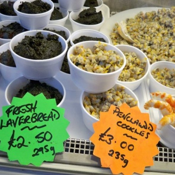 Cockles and laverbread at Swansea market. Photo by Chef Mark Tafoya.