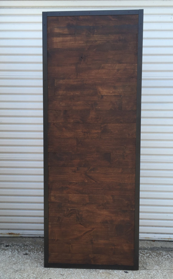 Custom Sliding Barn Door, Horizontal Staggered Plank Barn Door, Metal Trim