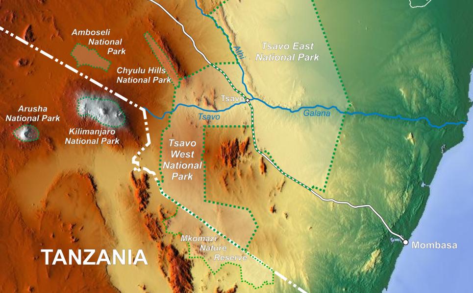 Mkomazi, früher Wildschutzgebiet, später Nationalpar | © Map by Wikipedia)