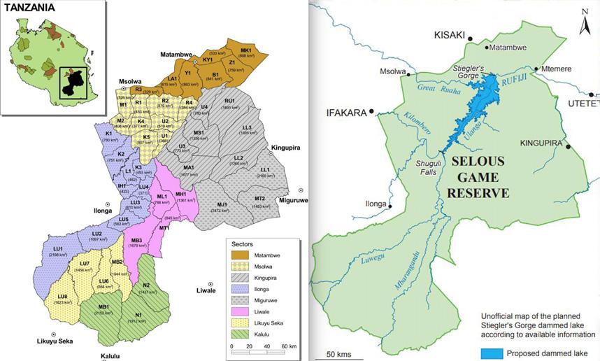 Das Selous Game Reserve: Links die Sektoren, rechts der geplante Staudamm |  © Karten zVg