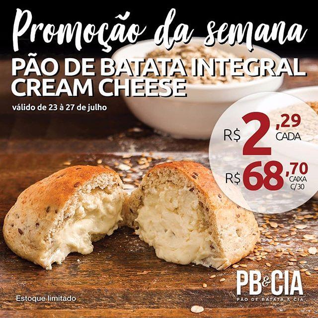 Essa semana uma deliciosa variação do nosso clássico e original pão de batata com requeijão está em promoção!! Pão de batata integral recheado com cream cheese por R$2,29 cada, não dá pra perder né? 😋  Compre já!  www.paodebatataecia.com.br/new-page-56/  Também pelo telefone 11 4070 5000, WhatsApp (11) 953278987 ou vendasonline@pbecia.com (apenas SP e ABC). #deliciasdopao #osmelhoressalgados #paodebatata #salgado #lanche #promoção