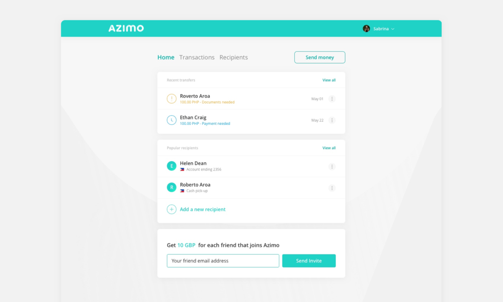 Web app dashboard - Domingo Widen