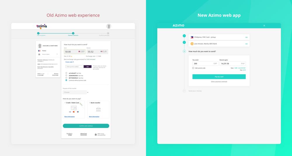 Old Azimo web experience vs new web app - Domingo Widen