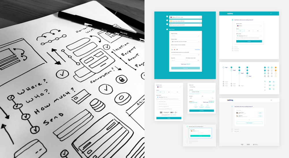 Preliminary explorations and sketches for Azimo web app - Domingo Widen