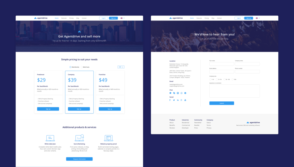 Pricing & Contact page - Domingo Widen