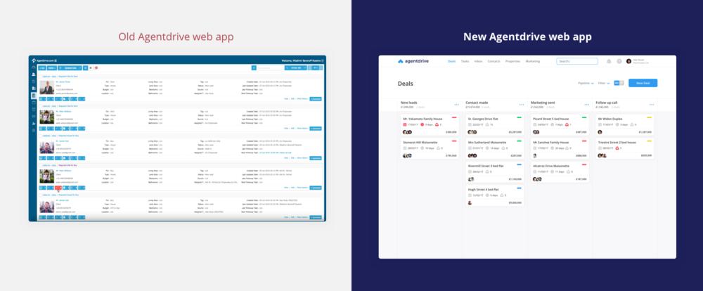 Old Agentdrive web client vs redesigned version - Domingo Widen