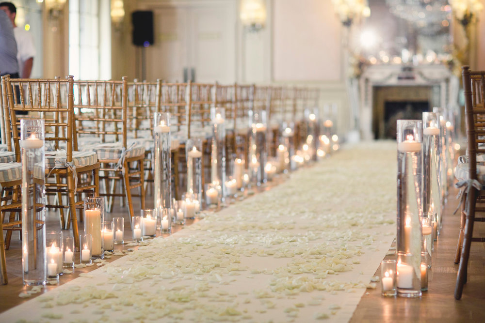 luxury wedding details candles