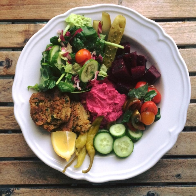Falafel Plate with Beet Hummus