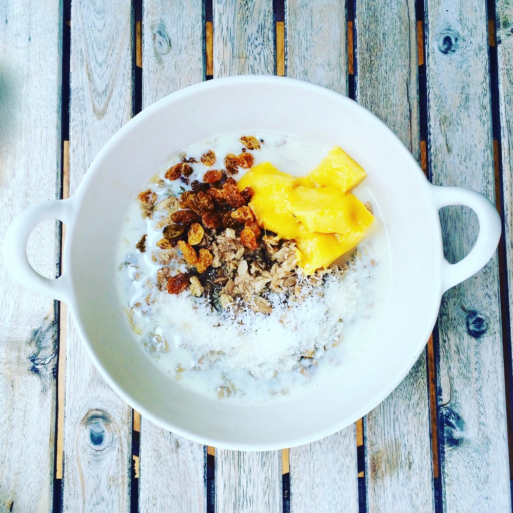 Homemade Hot Cereal with Mango & Coconut