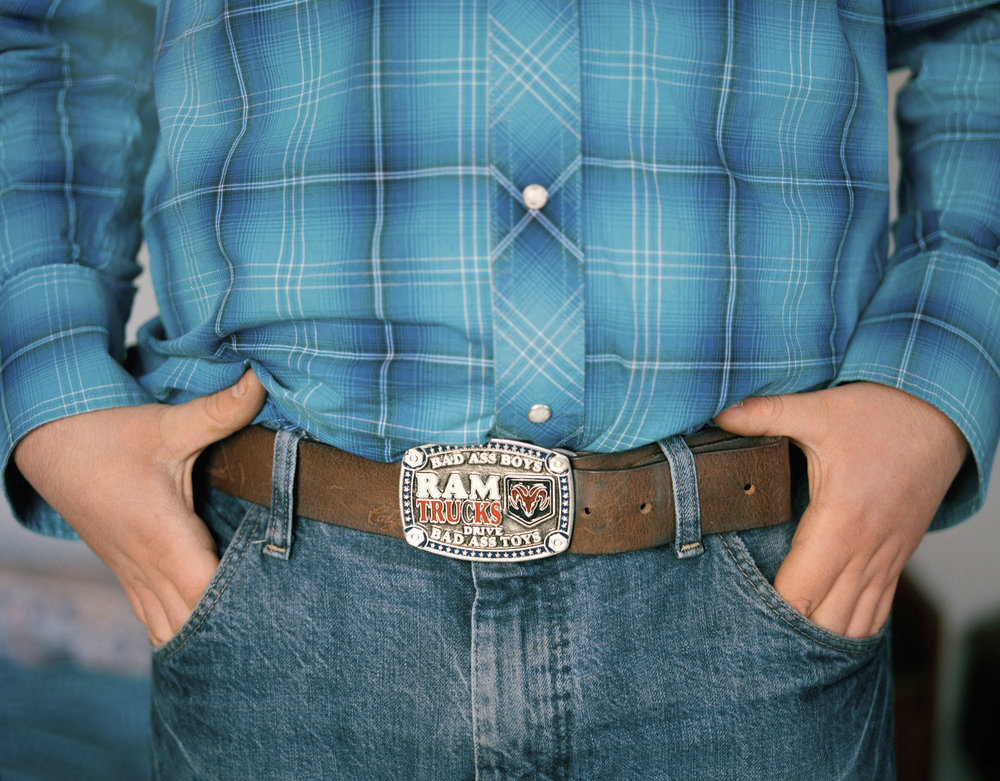Matthew Faircroft-Robert's belt, that he bought in Canada in 2016. Matthew buys all his clothing from the U.S or from Canada so that he looks the part when he is riding. He feels that it is important to commit to the whole culture of western riding to be a part of that community.