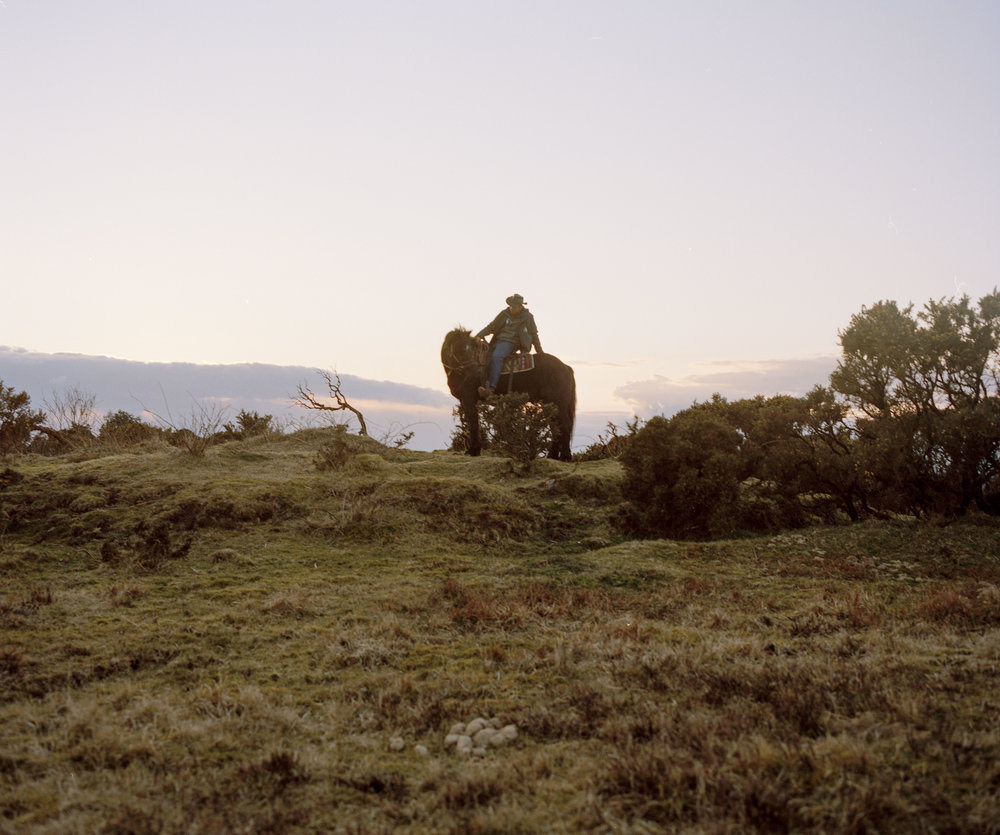 Philip Heard sitting on his horse as the sun sets across Dartmoors moorland.