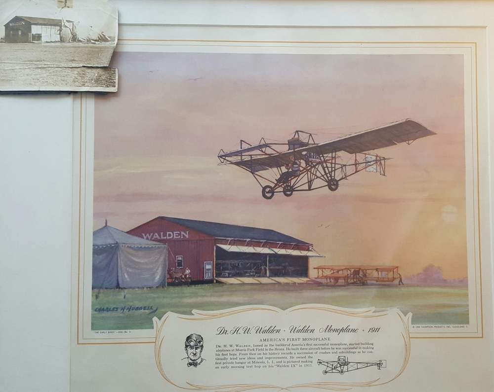 Walden flying his first successful model, the Walden III in front of his hangar at Mineola, NY.  The picture in the upper left corner is of his destroyed plane after a wind storm.