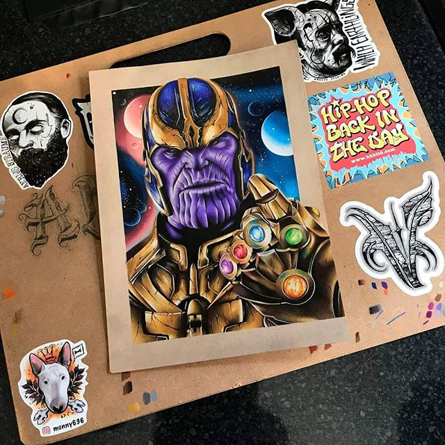 """""""You should have gone for the head"""" Finished Thanos drawing by apprentice @abbtill 😊 40+ hours to do this, prints available message us or Abb directly for any enquiries 👍 Done using Prismacolours, Derwent pencils, Polychromos on Strathmore toned tan paper • • • • • #Thanos #TheMadTitan #Marvel #MarvelArt #ThanosArt #Avengers #InfinityWar #EndGame #CaptainMarvel #InfinityGauntlet #IronMan #Spiderman #Thor #BlackAndGreyTattoo #RealisticTattoo #ColourRealisticTattoo #ColourRealism #Art  #Drawing #DrawingOfTheDay #RealisticDrawing #ArtOfTheDay #WorldOfPencils #WorldOfTalents #WorldOfNerdArt #Illustration #SupportArt #Tattoo #TattooDesign @worldofpencils @drawing.expression @worldofnerdart @sullenclothing @joshbrolin @artistsassemble"""
