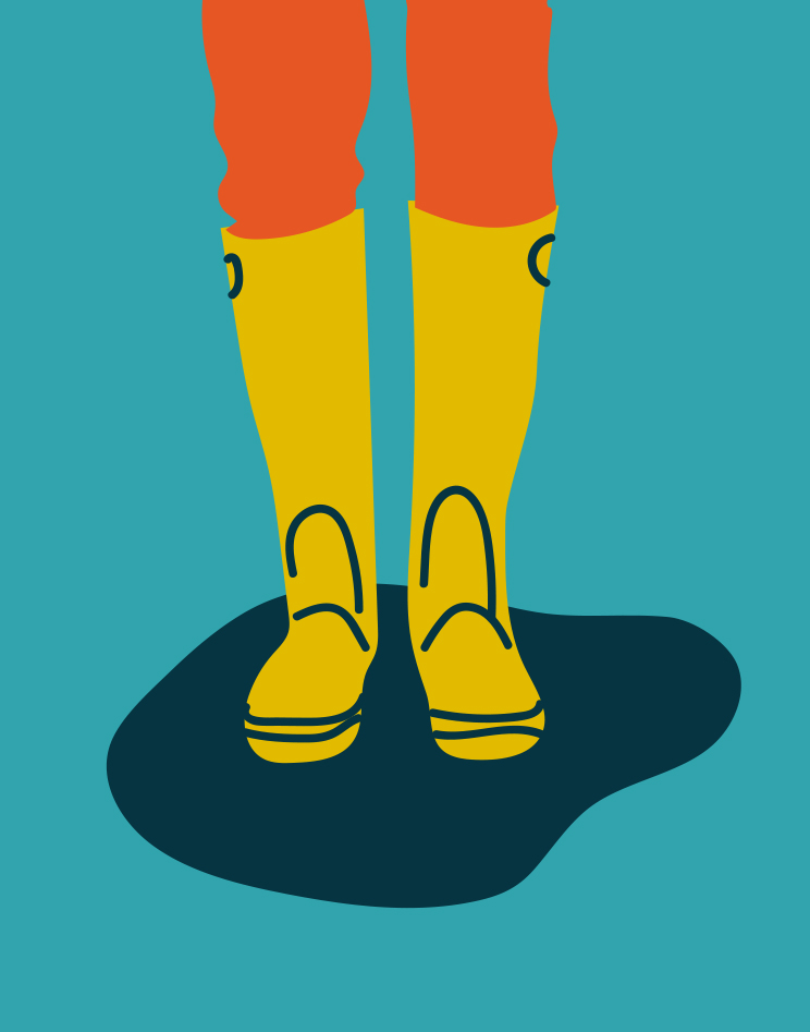 54. wearing rain boots