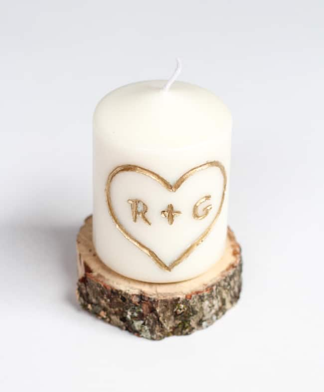 2. Carved Candle - Feeling a little 80's nostalgia? Grab a candle and carve those initials!